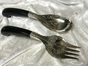 Antique Mohd Salleh & Sons Malaysia Ornate Silver Serving Spoon & Fork W/Dragons