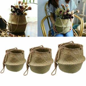 Seagrass Belly Laundry Basket Flower Plant Pot Storage Bag Home Garden Decor