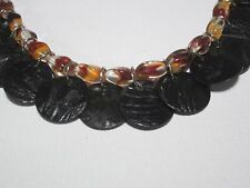 Shell Sequins Necklace and Earrings Set Orange Swirled and Black Beaded / Black