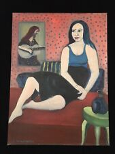 "C Wahrman Folk Art Outsider Oil Painting on Board Woman 18""x24"""