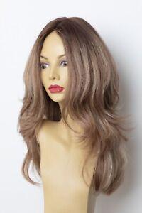 Yaffa Wigs Finest Quality Long Brown Wavy W/Highlights Tiffany 100% Human Hair
