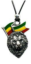Lion de Juda Rasta Pendentif Haile Selassie Jamaïque Émaillé Perlé Cordelette