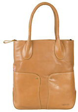 DEPECHE BRANDED REAL LEATHER LIGHT TAN XLARGE TOTE  /  WORKBAG
