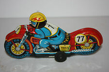 Tin Motorcycle Toy Thunder Bird Race Motorcycle #77 made in Japan in 1950's