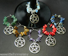Wine Glass Charms: 6 Gemstone Silver Pagan Occult Wiccan Pentagram Drink Markers