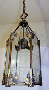 Art Deco Acorn Oak Leaf Brass Glass Hall Foyer Light Fixture Chandelier