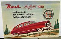 1950 Nash Airflyte Foreign Dealer Sales Brochure Large Color Folder German Text