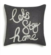 Holiday Lane Lets Stay Home Gray Square Pillow Gray Flannel 16� x 16� New $52
