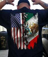 American Mexican Flag Mexico Patriotic Men TShirt S-5XL Navy