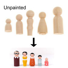 FAMILY OF 5 WOOD PEG DOLLS WOODEN FIGURES MINI PEOPLE DIY CRAFT TOY SET STRICT