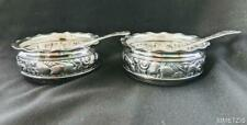 2 ANTIQUE GORHAM STERLING SILVER OPEN SALT CELLARS NAUTICAL REPOUSSE & SPOONS