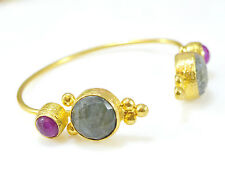 Ottoman Gemme Semi Preziose Pietra Braccialetto in oro Bracciale in Labradorite Jade fatto a mano