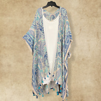 PLUS SIZE Paisley BOHO Peasant HIPPIE  HI LOW KIMONO WRAP CARDIGAN DUSTER Teal