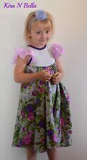 Purple Gray Polka Dot Floral Twirly Dress Size 6 Full Circle Skirt Handmade
