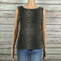 Chico's Design Sheer Mesh Burnout Animal Print Tank Top Shell Shirt 2 LARGE 12