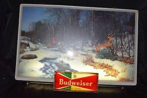 Vintage Budweiser Lighted bar beer sign rare antique deer hunting 50s 60s