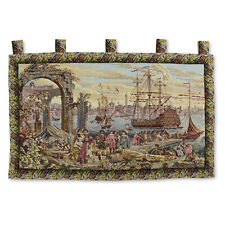 """Antique Victory by the Harbor Large Art Wall Hanging Vintage Tapestry 51""""x36"""""""