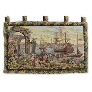 "Antique Victory by the Harbor Large Art Wall Hanging Vintage Tapestry 51""x36"""