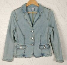 CAbi Womens Size 4 Light Wash Button Front Denim Jacket Blazer