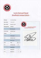 Louis Reed Sheffield United 2014-ORIGINALE A MANO FIRMATO TAGLIO / CARD
