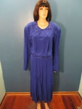 Plus Size 22W blue EMBROIDERED BEADED ELASTIC WAIST dress by KSL