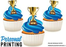 PERSONALISED TROPHY ANY WRITING - 12 Edible Cupcake Toppers love winner congrats