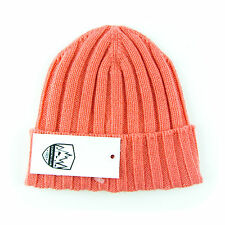 New COUNTRY CLUB Italy Salmon Pink Cashmere Knit Beanie Hat Cap 50 fits S / XS