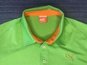 Puma Men's Cool Cell Bright Green Performance Polyester Blend Golf Shirt Size M