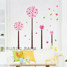Cute Round Trees & Pink Petals Home Decoration Vinyl Wall Sticker Art Decal