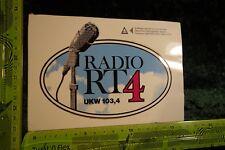 Alter Aufkleber Sender TV Radio RT 4 UKW