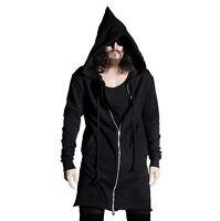 Occident Men Mid Long Hooded Cardigan Zipper Sweat Coat  Loose Cloak Ske15