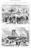 Leycett Colliery Disaster.Pit.Newcastle-under-Lyne.1880.Mining.Antique.Mine.Art