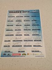 NRL CRONULLA SHARKS RUGBY FULL TEAM SIGNED PRINT POSTER COLLECTORS BEST PRICE