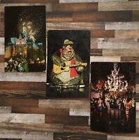 Vtg DISNEYLAND Postcards Castle Fireworks Tiki Room 1966 Disney world Bears 1972