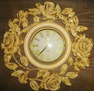 "Vintage Ornate Syroco Wood 8 Day Jeweled Key Wound Wall Clock 18"" w/ Key REPAIR"