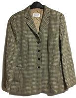 HORST BASLER Vtg 90s Womens UK 14 Check Plaid Blazer Jacket Cream Black Classic