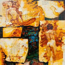 Female Nude / Original Mixed Media Paiinting by Hahonin / 30x30cm