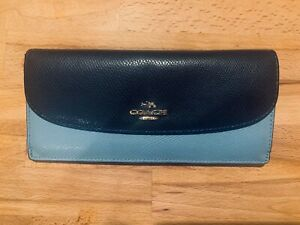 COACH Blue Slim Leather Wallet