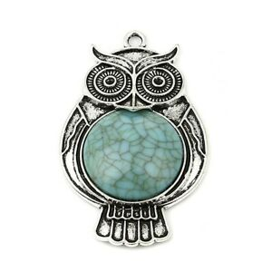 Owl Boho Antique Silver Plated Acrylic Turquoise Pendant x 1