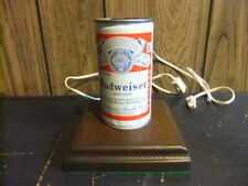 vintage Budweiser can lamp wood base 7 inches tall Works!