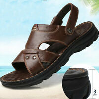 Summer Men Casual Hiking Leather Sandals Beach Shoes Open Toe Flat Slippers Size