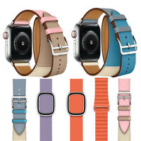 Leather Single Tour/Double Tour Strap Band Bracelet For Apple Watch Series 4/3/2