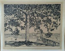 """Walter R. Locke Etching, """"Pine Branches, Fla"""" 1939, pencil signed"""