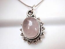 Rose Quartz 925 Sterling Silver Pendant with Rope Style Border and Silver Dots