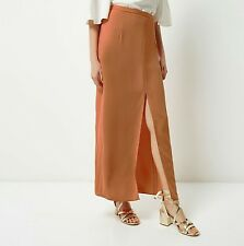 RIVER ISLAND Light orange split front maxi skirt - Orange
