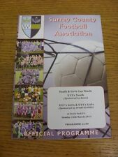 24/03/2013 Football Programme: Surrey County Youth And Girls Cup Finals - U13 Yo