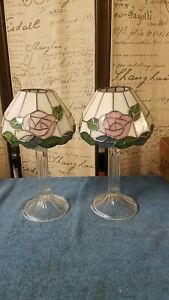 Pair Royal Limited Stained Glass - Crystal Pedestal Pillar Lamps Votive