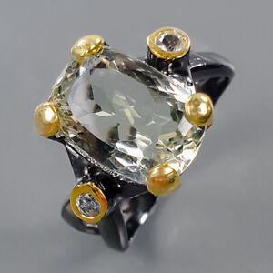 Handmade ring Green Amethyst Ring Silver 925 Sterling  Size 7.5 /R170604