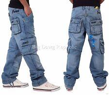 Peviani Homme Créateur Cargo Combat Jeans Jean, Délavé Bleu, Is Time Argent