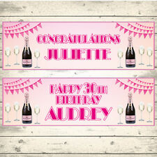 2 Personalised Pink Champagne Congratulations Celebration Banners